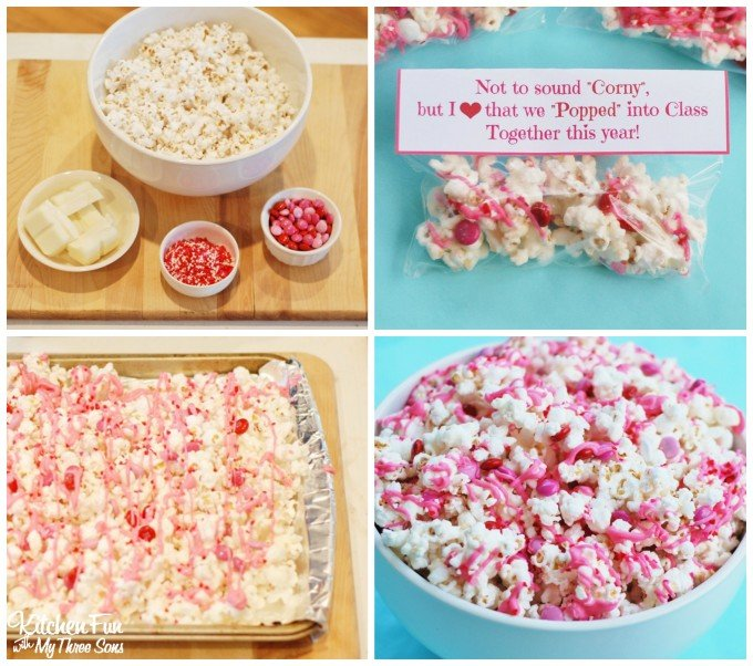 White Chocolate, Valentine candies, and sprinkles turn popcorn into an adorable Classroom Valentine treat