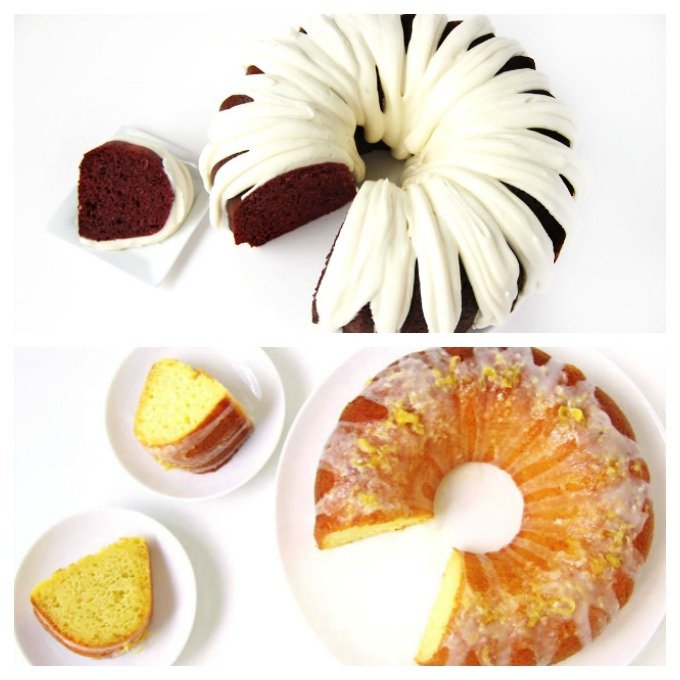Easy Red Velvet and lemon Bundt cakes.