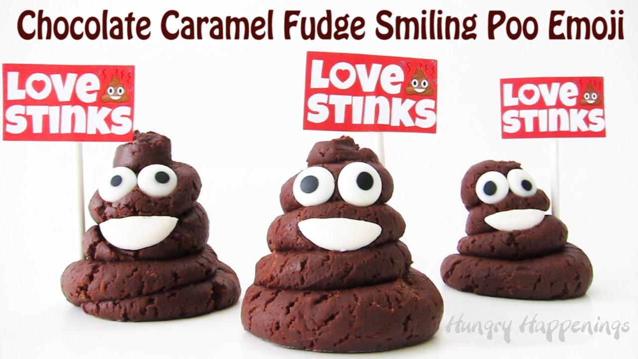 Chocolate Caramel Fudge Smiling Poo Emoji Love Stinks