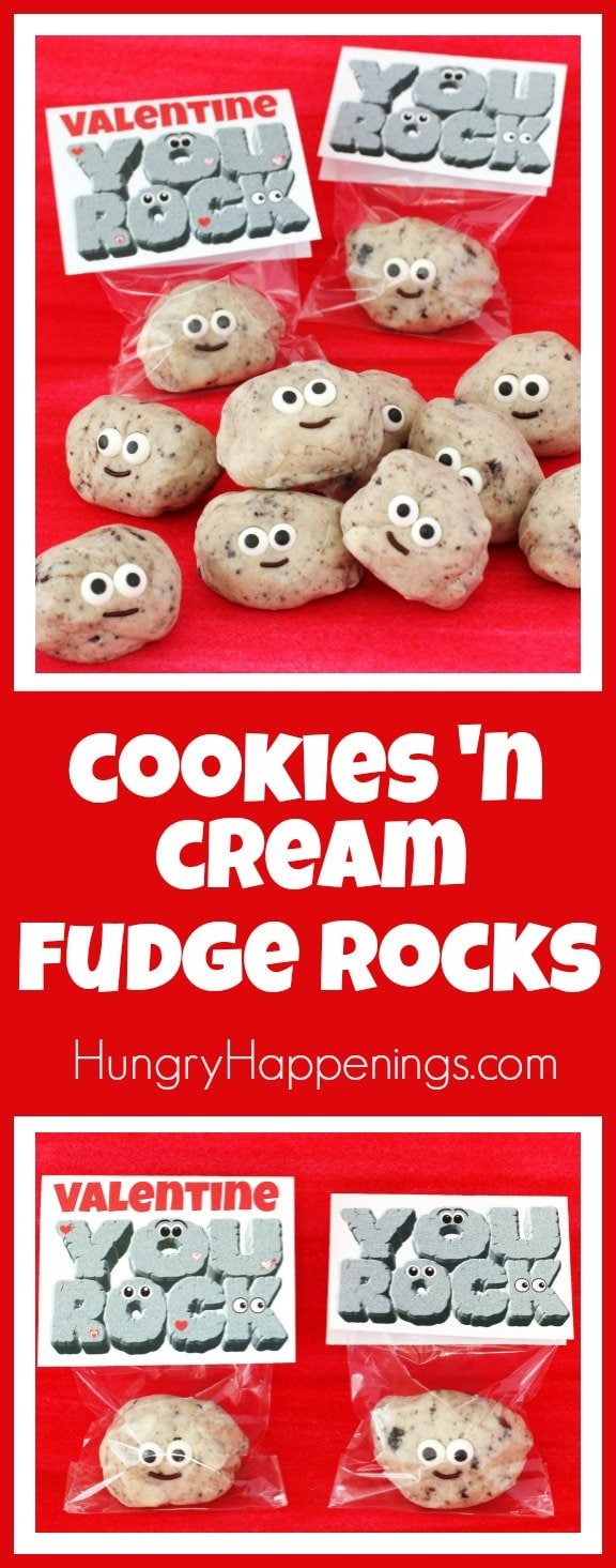 Flecks of Oreo Cookies can easily turn a 2-ingredient white chocolate fudge into fudge rocks which can be easily decorated to look like these insanely cute treats for Valentine's Day, a rock climbing party, or a camping trip.