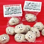 "Turn a simple 3-ingredient fudge recipe into some insanely cute treats for Valentine's Day. Your kid's classmates will be thrilled to receive some Cute Cookies 'n Cream Fudge Rocks especially if they are packaged in cellophane bags and are topped with a ""You Rock"" Valentine Printable tag."