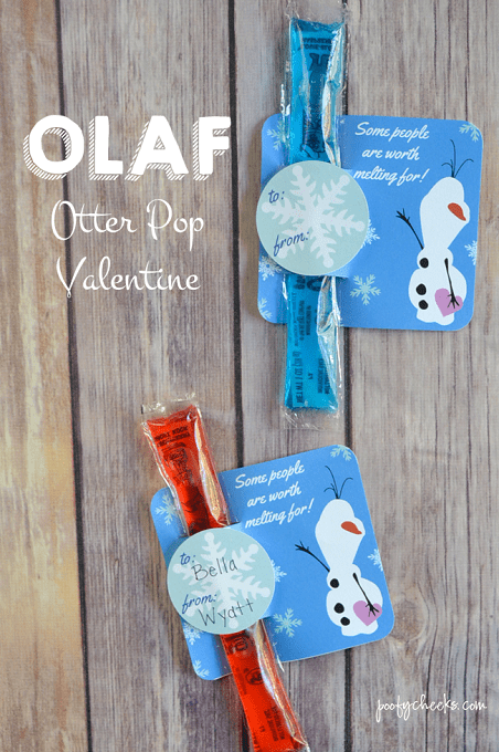 Turn freezer pops into adorable Frozen Olaf Otter Pop Valentine treats for the classroom