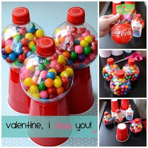 I Chews You Valentine made with round plastic bottles, a solo cup, and gumballs is the perfect classroom treat