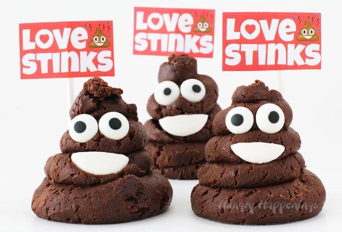 Chocolate Caramel Fudge Smiling Poo Emoji - Love Stinks Valentine's Day  Treats