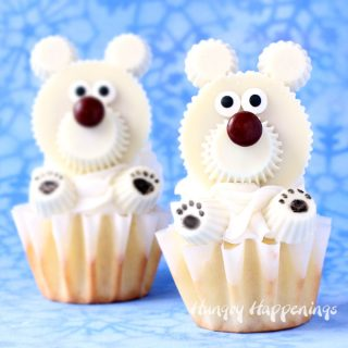 Polar Bear Cupcakes made with White Reese's Cups