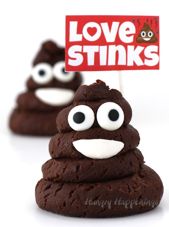 "If your friends think ""Love Stinks"" then these Chocolate Caramel Smiling Poo Emoji treats might just make them smile. They are fun treats to pass out for Valentine's Day."