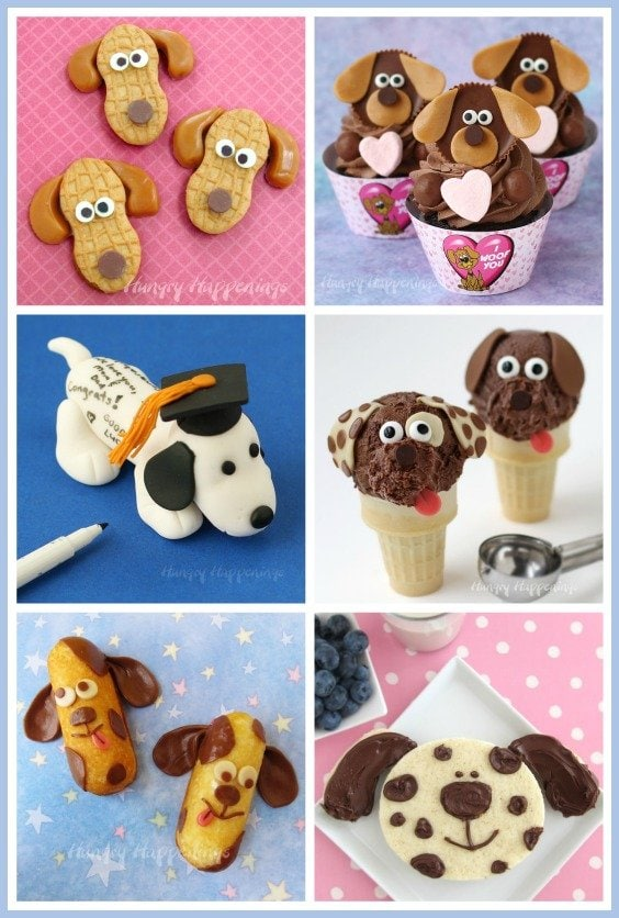 Aren't these puppy dog treats adorable? See how to make puppy dog cookies, cupcakes, sandwiches, ice cream cones, and more at HungryHappenings.com.