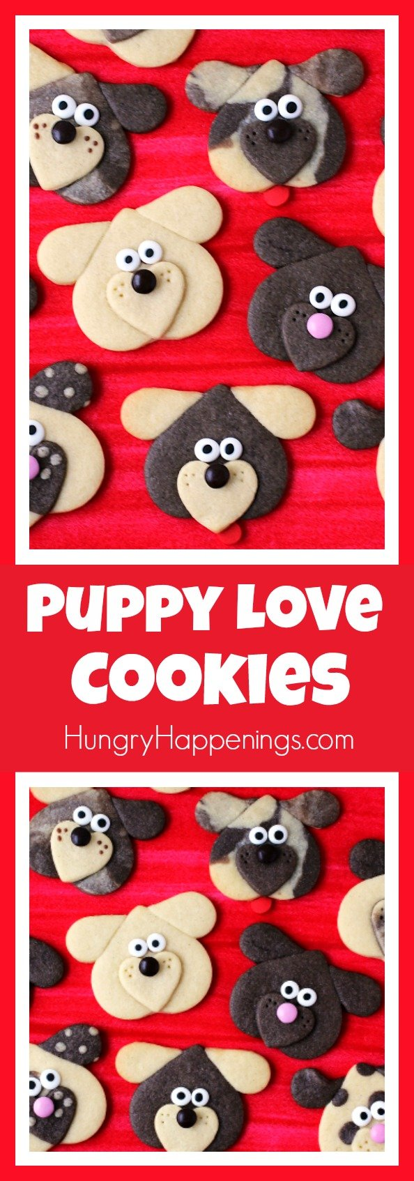 Create an entire litter of puppy dog shaped cookies by using 1 cookie dough and 3 heart shaped cookie cutters. These Puppy Love Cookies will make the cutest treats for Valentine's Day.