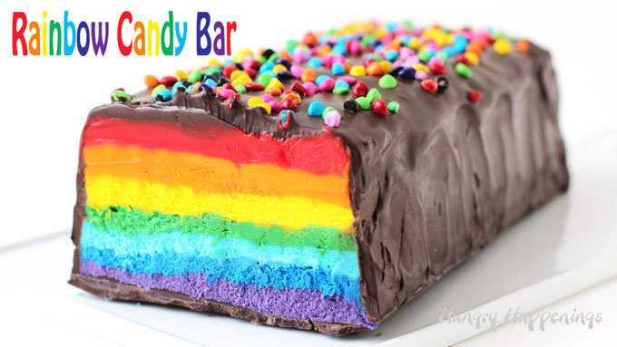 Giant Rainbow Candy Bar With Colorful Nougat In A Dark