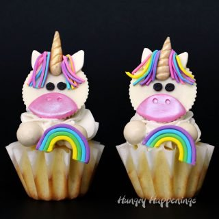 Magical Unicorn Cupcakes made with White Reese's Cups and Candy Clay