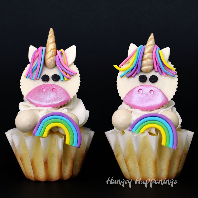 These Magical Unicorn Cupcakes made with White Reese's Cups and Candy Clay will be the hit of any birthday party. With their rainbow colored manes, gold candy horns, and expressive little eyes, these mythical creatures come to life in the sweetest form.