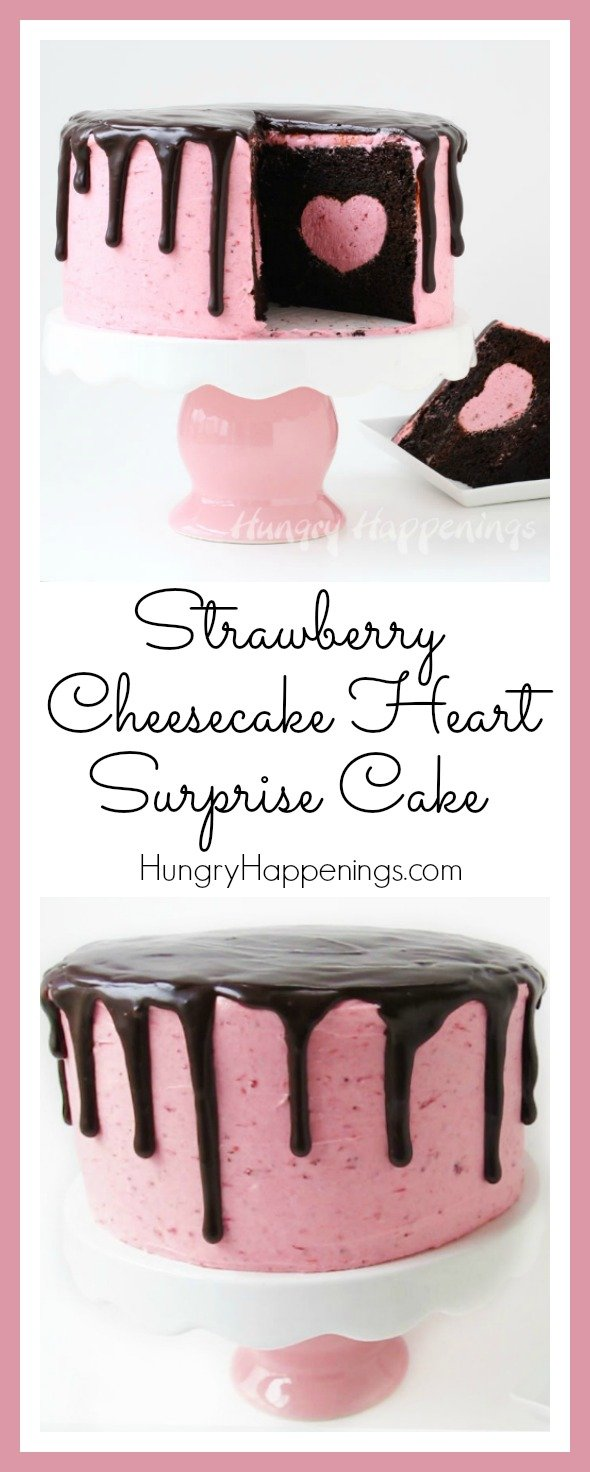 Cut into this pretty pink cake to reveal a strawberry cheesecake heart hiding inside a rich and decadent chocolate cake. This Strawberry Cheesecake Heart Surprise Cake will make Valentine's Day really sweet.
