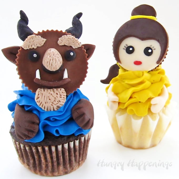 Beauty and the Beast Cupcakes made with Reese's Cups.
