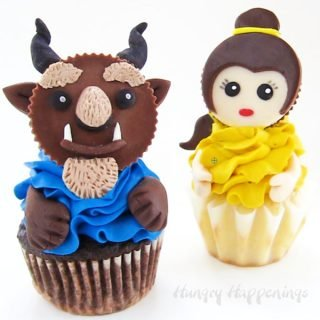 Decorate Reese's Cups using candy clay (modeling chocolate) to create stunning Beauty and the Beast Cupcakes inspired by Disney's Emoji Blitz. Kids and adults will fall in love with these sweet fairy tale treats.
