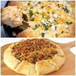 Two hearty appetizers will fill up your party guests. Serve a spicy Buffalo Chicken Skillet Dip or a hearty Meat & Potatoes Crostada.
