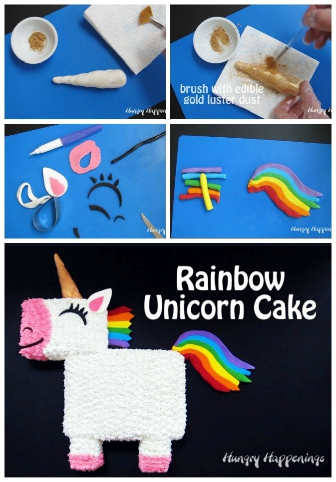 Use candy clay to create the horn, ears, eye, mouth, nose, tail, and mane for this colorful Rainbow Unicorn Cake.