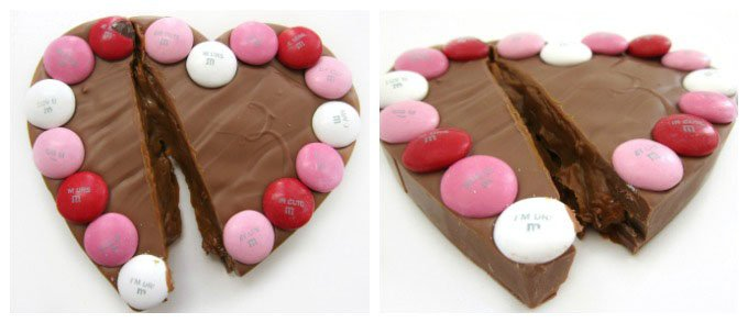 Caramel Filled Milk Chocolate Hearts topped with Mega M&M's with Cupid's Message make great gifts for Valentine's Day and are easy to make using a cookie cutter.