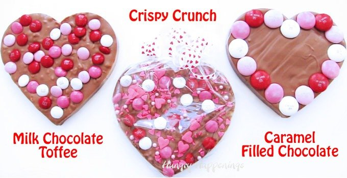 Need a quick and easy last minute gift for Valentine's Day? Make some pretty Chocolate Bark Hearts for your loved ones. You can fill your hearts with toffee bits, crispy rice cereal, or caramel then decorate them with colorful red, pink, and white M&M's candies.