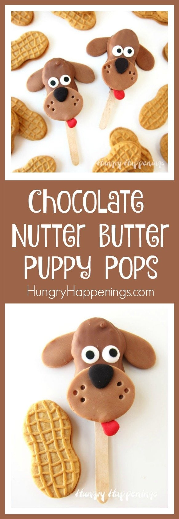 Puppies are so darn lovable and cute and they are hard to resist. These Chocolate Nutter Butter Puppy Pops with their floppy chocolate ears and sweet candy eyes are just as irresistible and will make sweet treats for Valentine's Day, puppy adoptions, and birthday parties.