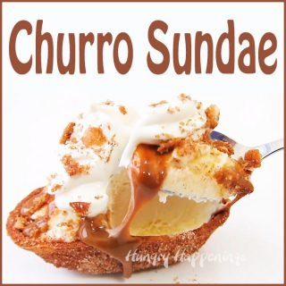 Churro Sundae – Fried Tortilla Boats with Vanilla Ice Cream & Dulce de Leche Sauce