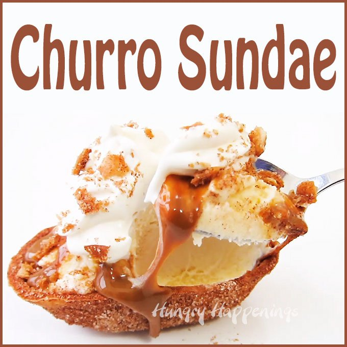 Scoop vanilla ice cream into a fried tortilla boat covered in cinnamon sugar then drizzle on some dulce de leche (caramel) sauce, add a swirl of whipped cream and some crunchy cinnamon sugar tortilla bits to make this dreamy Churro Sundae.