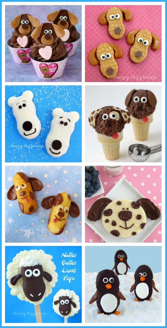 Make cute animal themed treats for your next party. Find the tutorials for these puppy, dog, bear, and penguin treats at HungryHappenings.com.