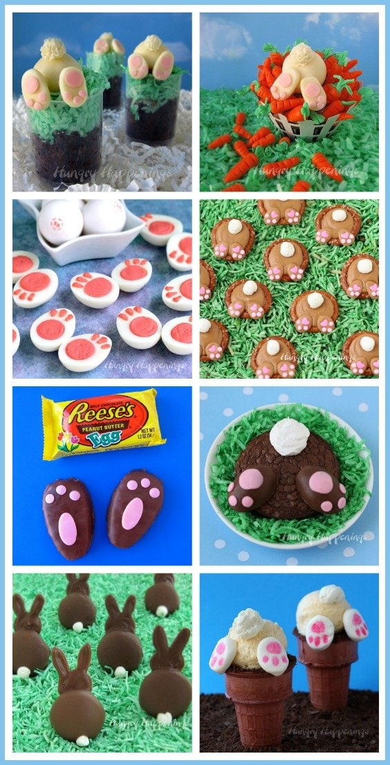 Fill your Easter baskets with the cutest bunny butt treats or serve them for dessert at your holiday meal. See all the recipe tutorials at HungryHappenings.com.