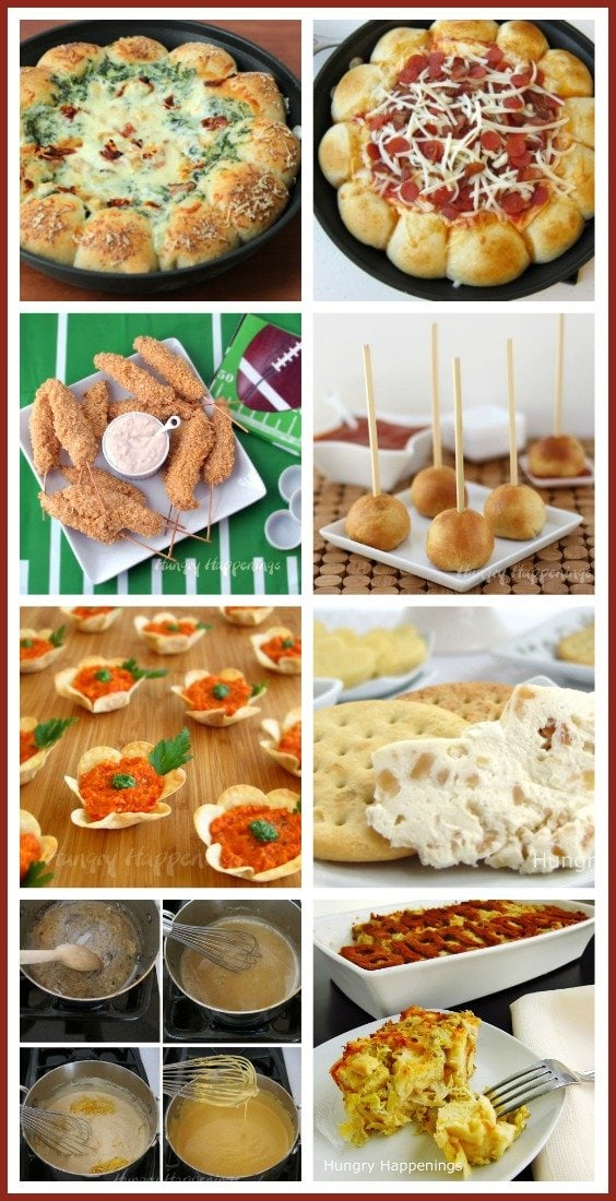 Treat your party guests to some tasty appetizers including Chip 'n Dip Chicken Skewers, Skillet Pizza Dip, and Roasted Garlic Cheese Balls. See the recipes at HungryHappenings.com.