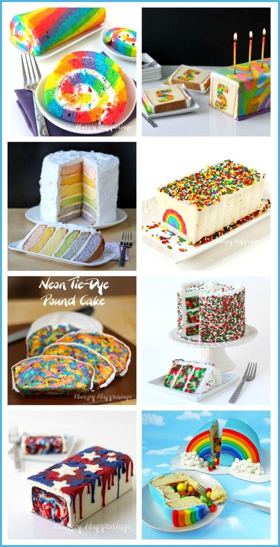 Make rainbow and tie-dye rainbow cakes for birthdays and special occasions! See all the tutorials at HungryHappenings.com.