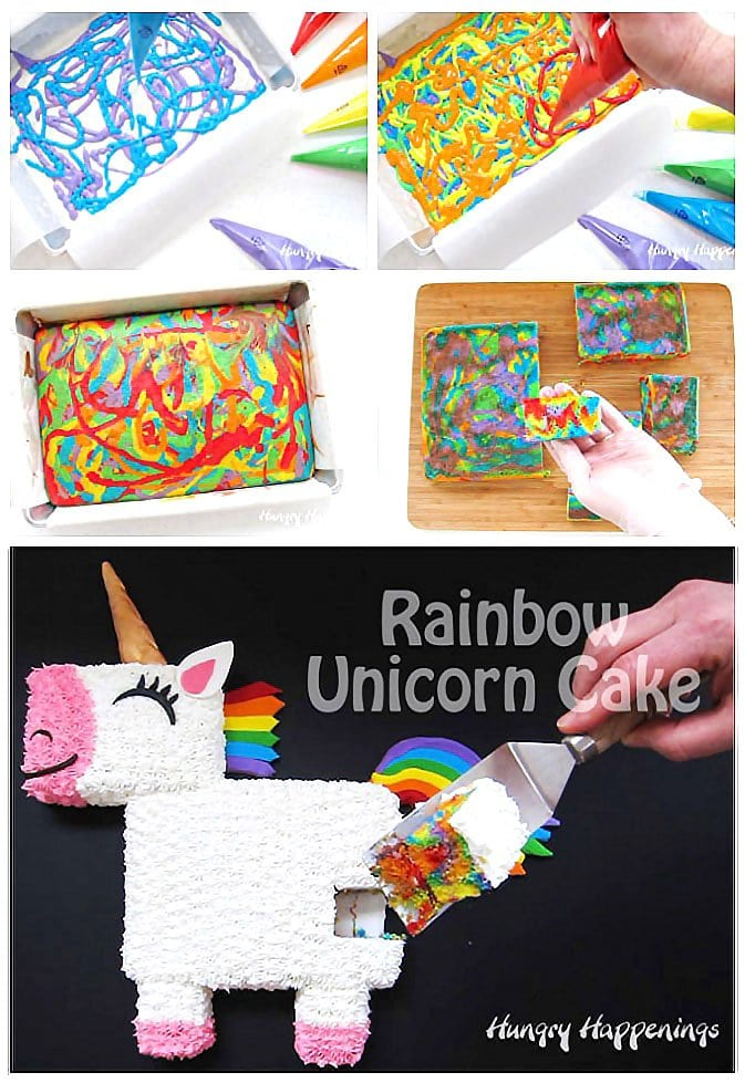 Cut into this adorable Rainbow Unicorn Cake to find swirls of rainbow colored cake.