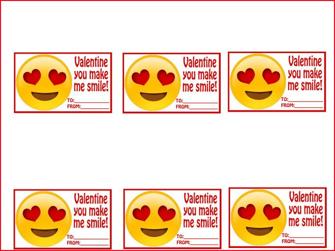 "Printable ""Valentine You Make Me Smile"" tags for Easy Fudge Emoji."