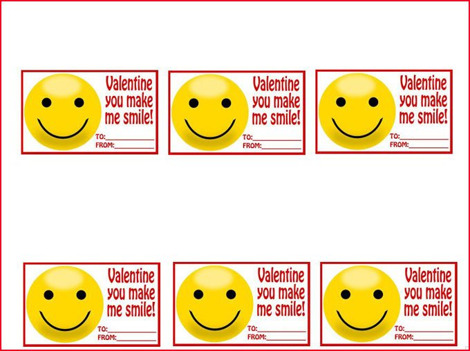 "Printable ""Valentine You Make Me Smile"" smiley face emoji tags for Easy Fudge Emoji."