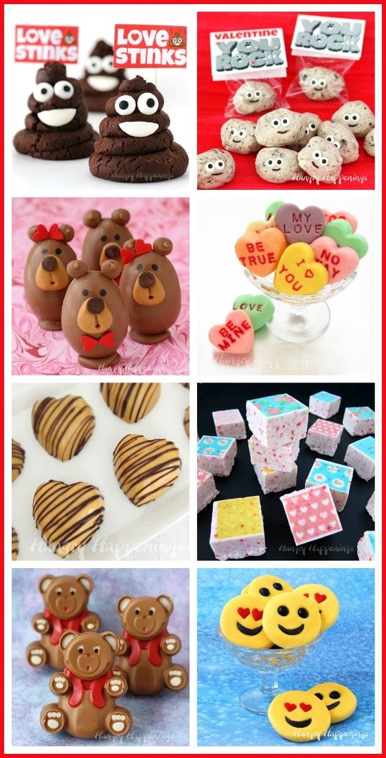Turn fudge into sweet Valentine's Day treats. Find the recipes for Fudge Conversation Hearts, Buckeye Bears, Chocolate Fudge Smiley Poo Emoji, and more at HungryHappenings.com.