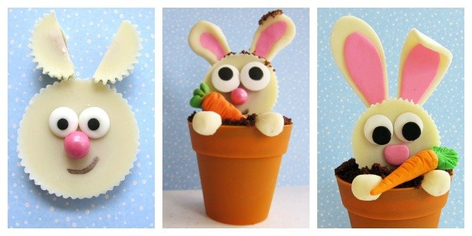 Turn White Reese's Cups into Bunnies then snuggle them down into a Flower Pot Cupcakes and serve at Easter brunch or a garden party.