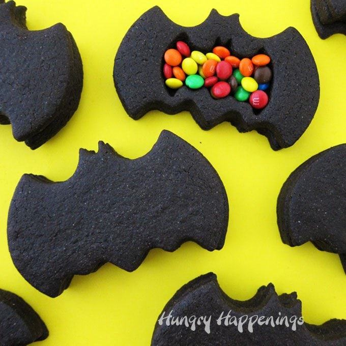 Break open these deep dark chocolate Batman Piñata Cookies to find another sweet treat concealed inside. These fun cookies will make great party favors or desserts for your Batman themed party.