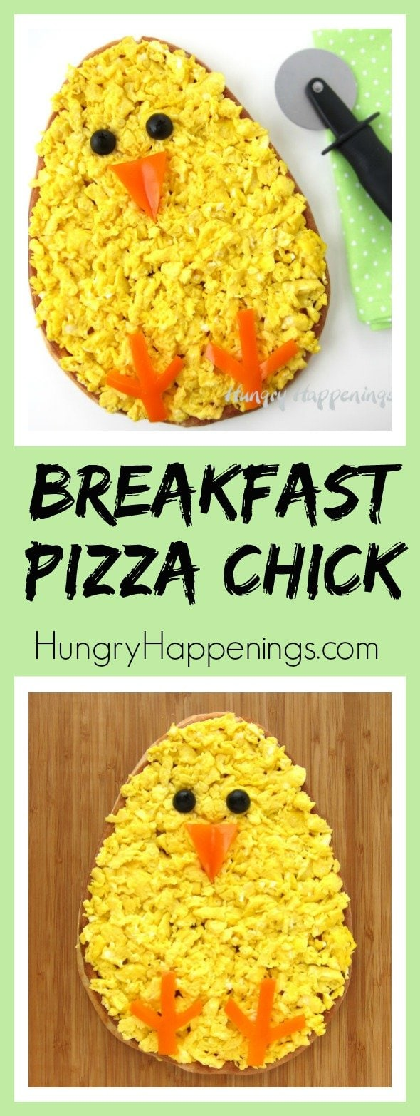 Make your Easter brunch egg-stra special by serving this adorable Breakfast Pizza Chick topped with ham, cheese, and scrambled eggs. See how easy it is to decorate using orange peppers and black olives.