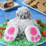 This Chocolate Coconut Cheese Ball Bunny Bum could not be cuter! Serve it this Easter and make your family smile.