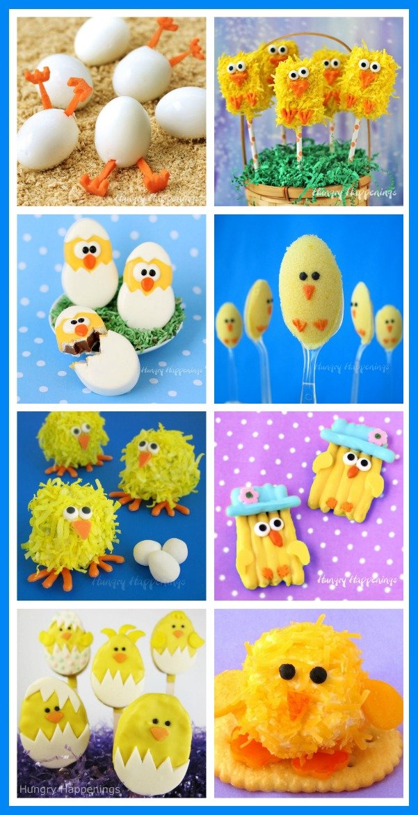 Add a touch of whimsy to your Easter this year by making these adorably cute Easter chicks out of chocolate, cake balls, pretzels, and more. See all the recipes at HungryHappenings.com.