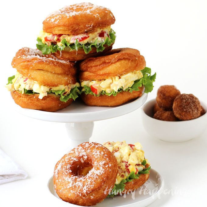 You'll never serve egg salad on white bread again, once you try this Donut BLT Egg Salad Strangewich. This unusual sandwich is even better than it looks.