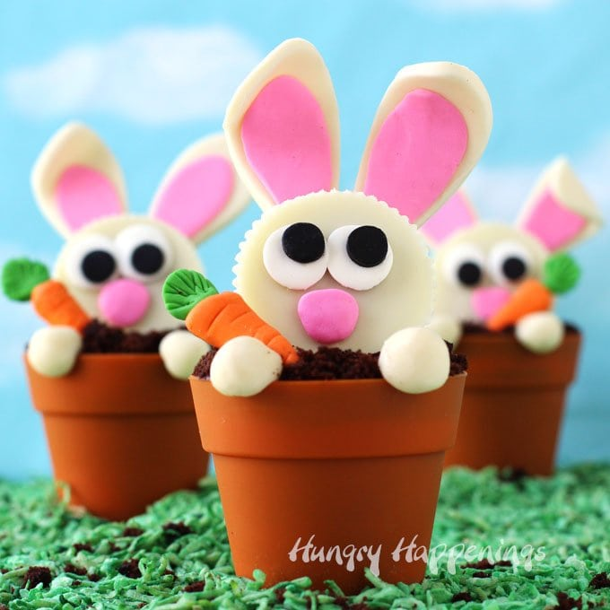 three silicone terra cotta pots filled with chocolate cupcakes are topped with the most adorable white Reese's Cup bunnies each holding a candycarrot