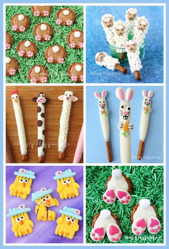 How cute are these Easter pretzels? Find the tutorials to make your own Easter bunnies, bunny butts, lambs, chicks, and more at HungryHappenings.com.