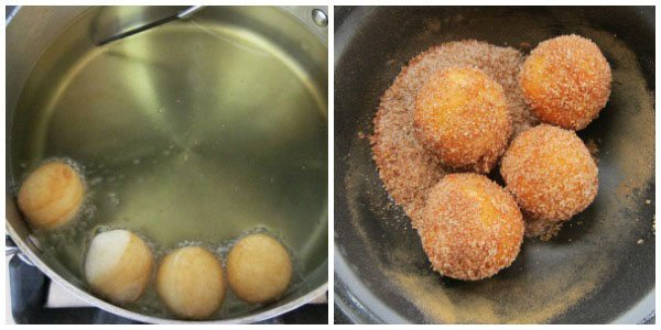 Fry donut holes then toss in cinnamon sugar.