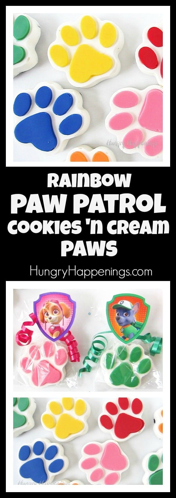 Paw Patrol fans will fall in love with these adorable rainbow colored Cookies 'n Cream Paws. Serve them at your Paw Patrol party or pass them out as party favors.