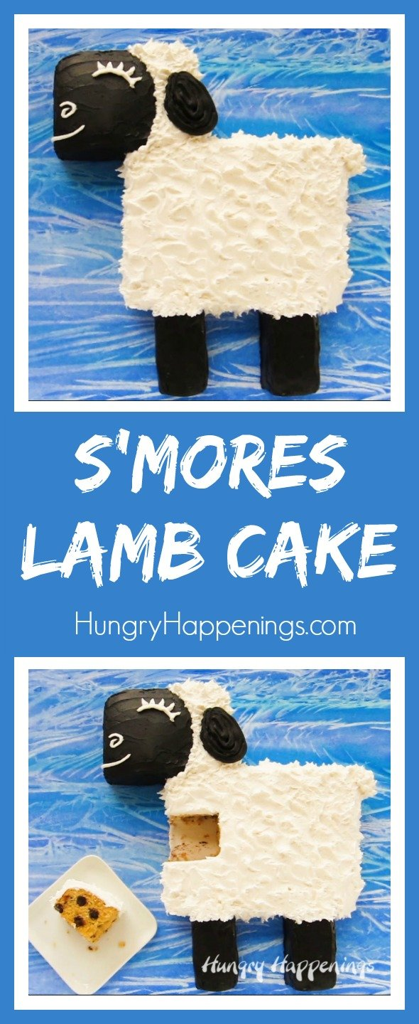 Cut apart a 9x13 inch chocolate chip graham cracker cake then top it with marshmallow frosting to make this adorable S'mores Lamb Cake for Easter, a baby shower, or a farm themed party. Watch the video tutorial to see how easy this is to create.