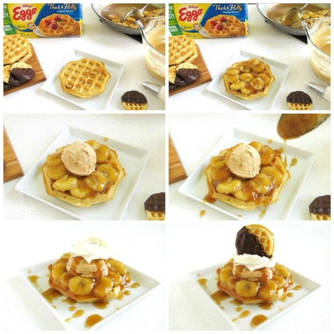 How to assemble the most amazing Waffle Dessert. Eggo Thick & Fluffy Original Waffles are toasted then topped with caramelized bananas, caramel mousse, whipped topping, and a chocolate dipped Eggo Minis Waffle.