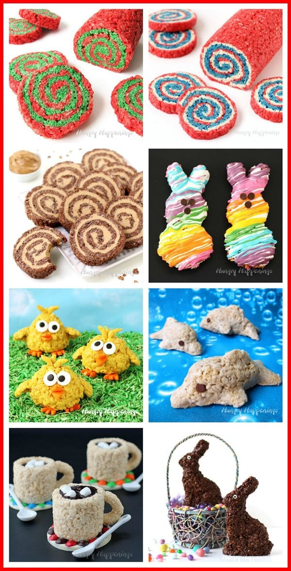 Have some fun with Rice Krispies Treats by making them into pinwheels, rainbow treats, chicks, dolphins, and more. See all these Rice Krispie Treat Recipes at HungryHappenings.com.