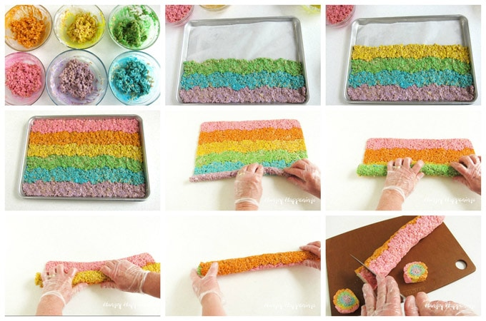 collage of images showing how to make rows of purple, blue, green, yellow, orange, and magenta rice krispie treat then roll them into a log to cut pinwheels