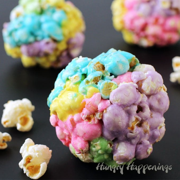 Rainbow colored Peeps Popcorn Balls are simple to make using 3 ingredients and will brighten up your dessert table or basket this Easter.