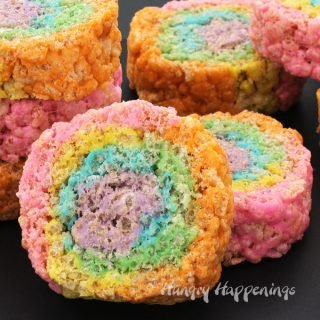 Rainbow Rice Krispie Treat Pinwheels Recipe