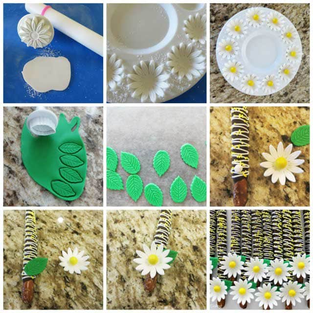How to make fondant daisy topped chocolate pretzels.